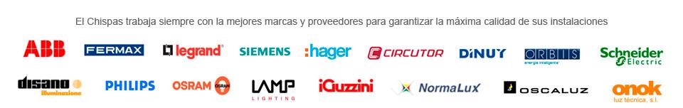 El chispas trabaja con las mejores marcas y proveedores para garantizar la máxima calidad en sus instalaciones